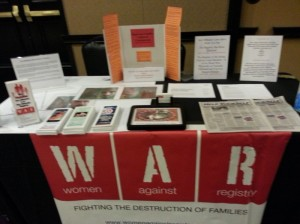 Women Against Registry (WAR) exhibt booth at the November 2014 National Association of Criminal Defense Lawyer (NACDL) Conference.